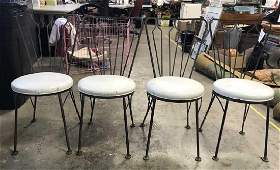Set 4 Retro Metal Chairs W Leather Seats