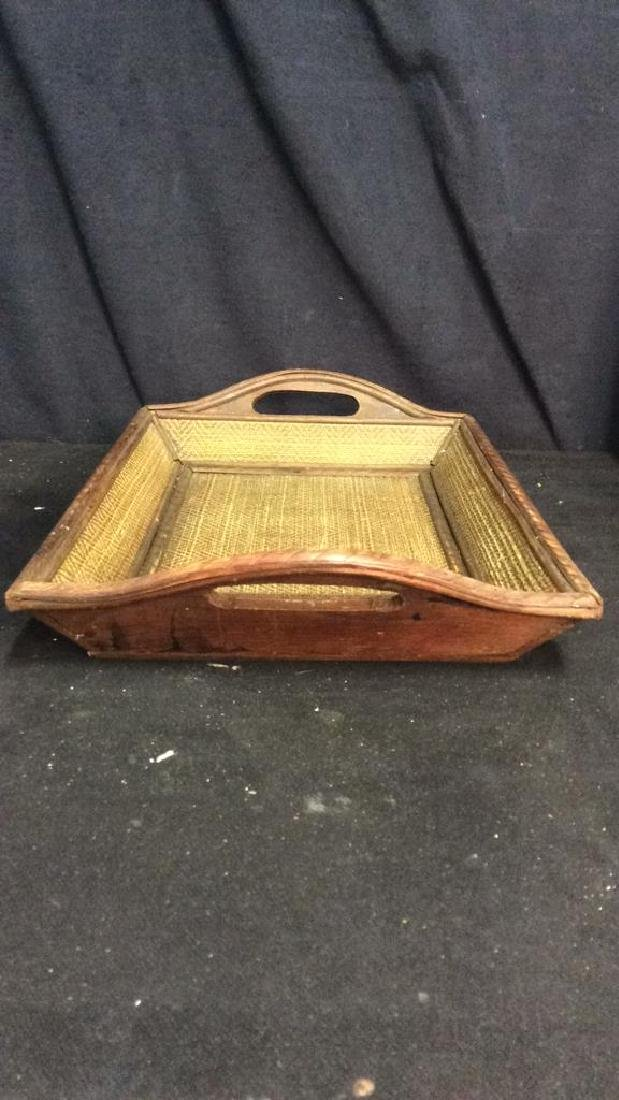 Woven Wooden Serving Tray - 5