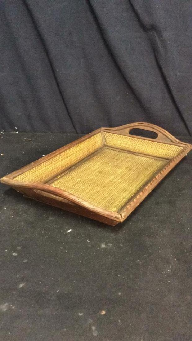 Woven Wooden Serving Tray - 7