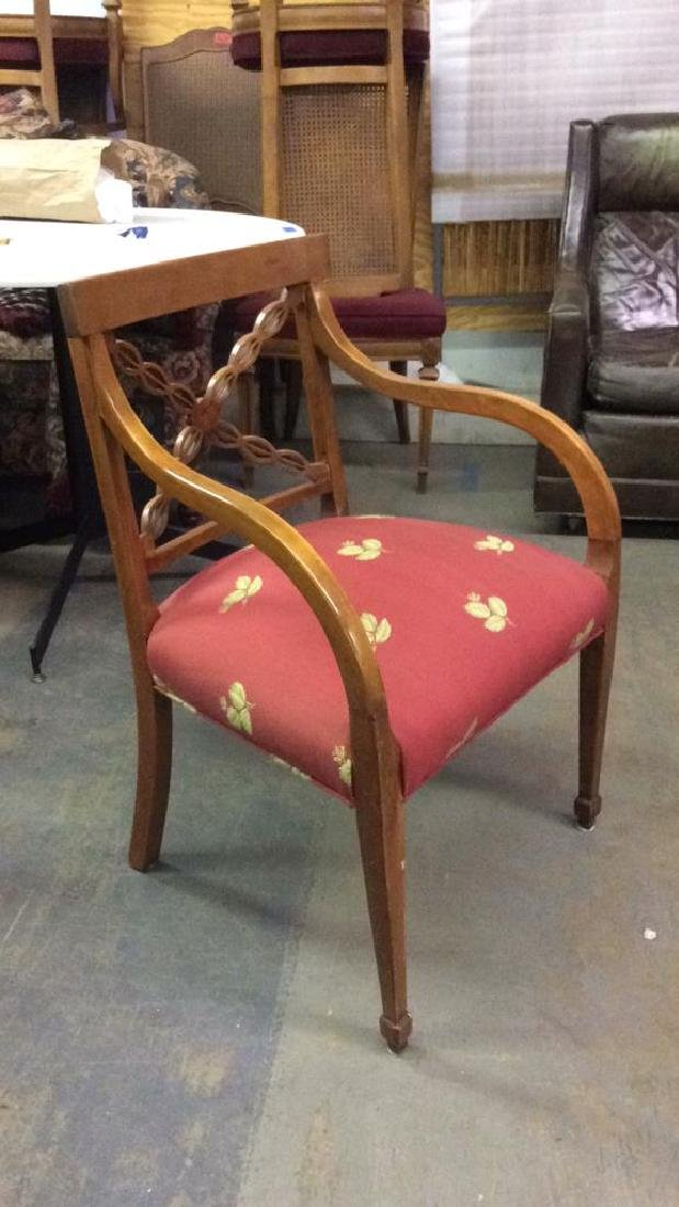 Red Toned Upholstered Wooden Armchair - 6