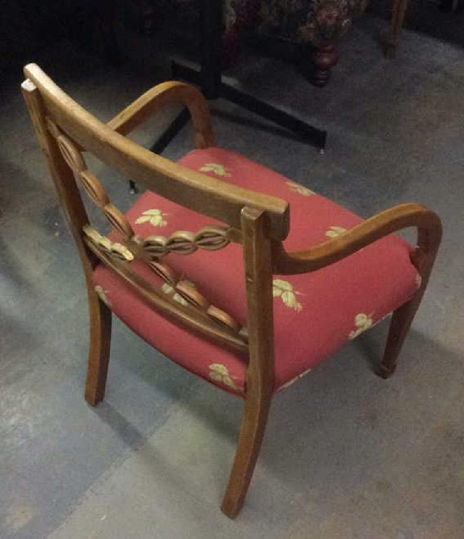 Red Toned Upholstered Wooden Armchair - 8