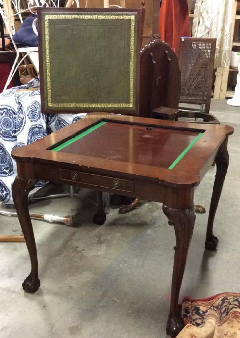 Chippendale Style Wood 2 Side Game Table - 10