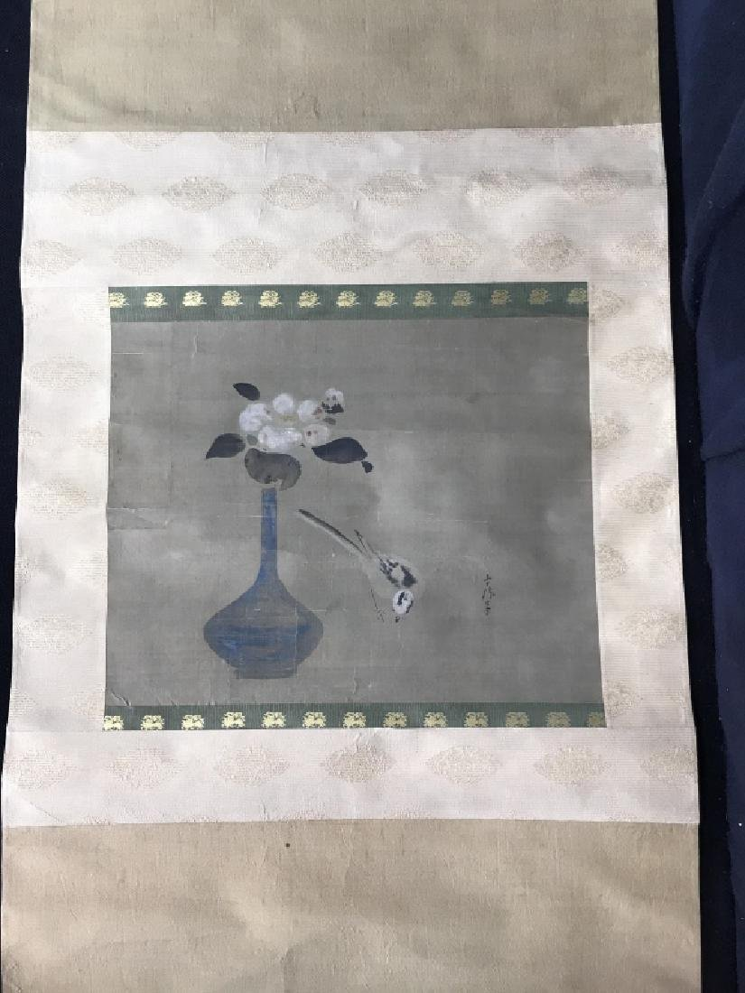 Vintage Japanese Silk Watercolor Painting Scroll