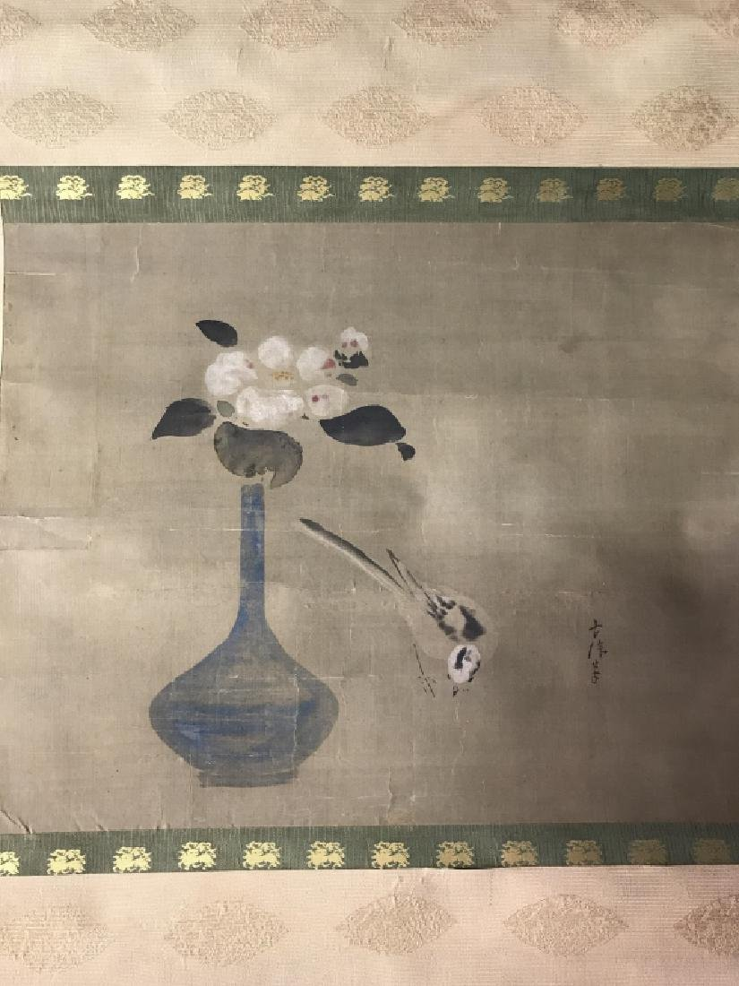 Vintage Japanese Silk Watercolor Painting Scroll - 2