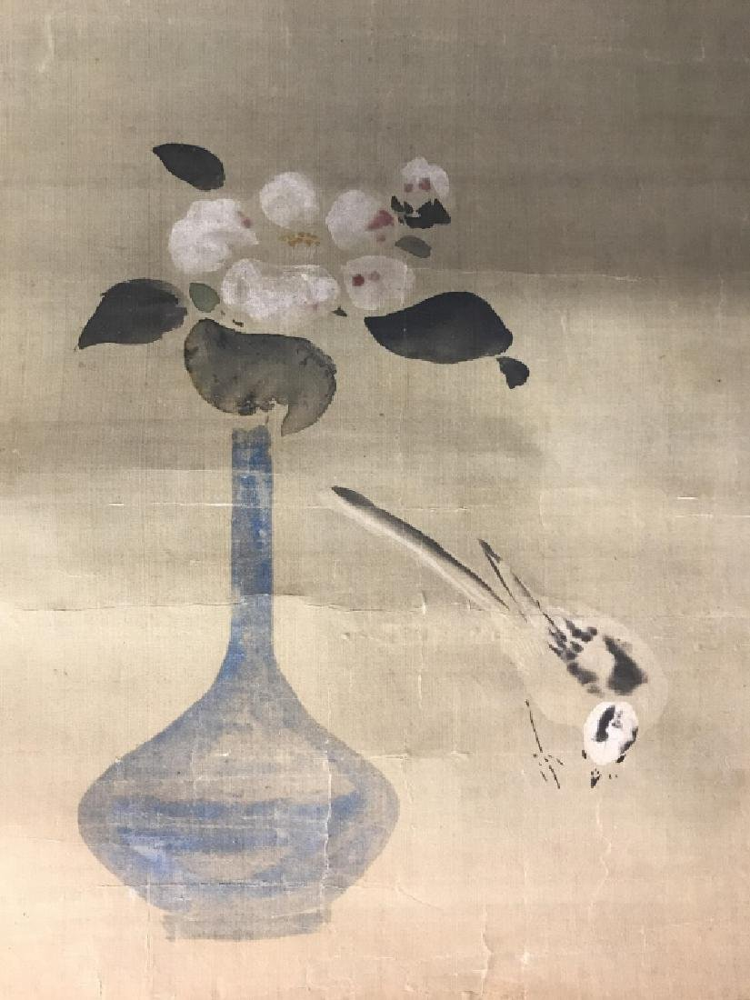 Vintage Japanese Silk Watercolor Painting Scroll - 7