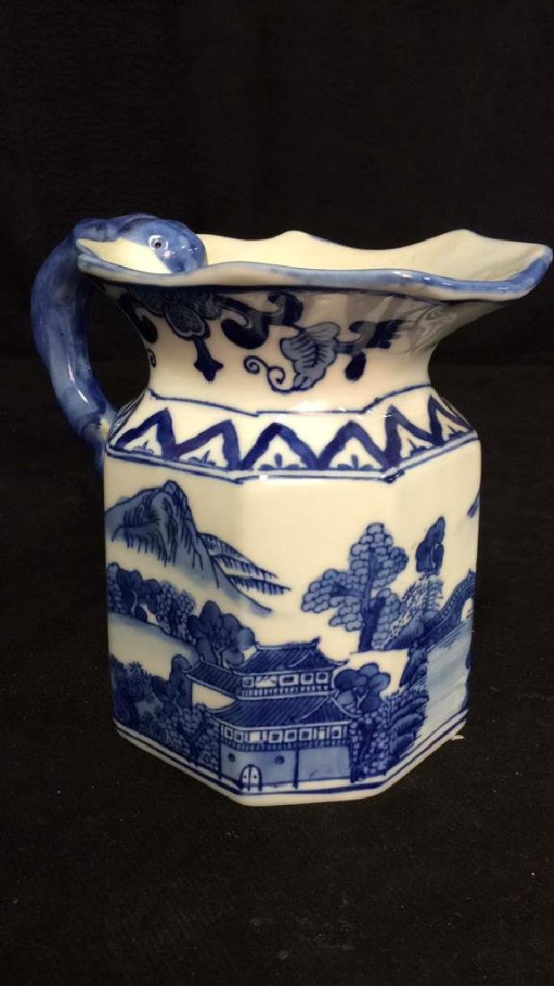 Blue and White Chinese Ceramic Pitcher - 2