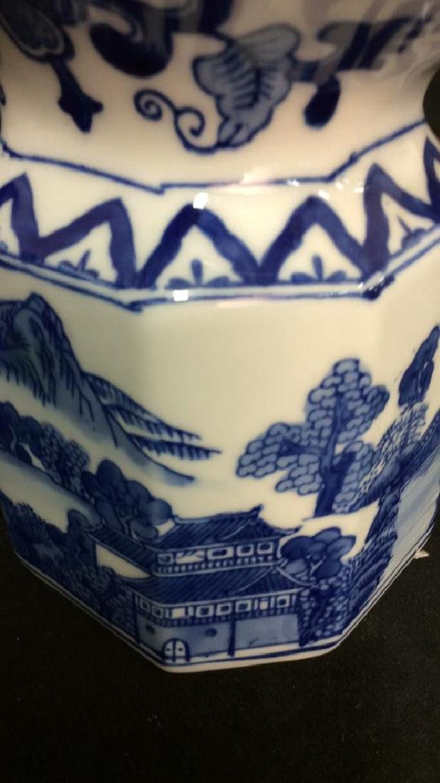 Blue and White Chinese Ceramic Pitcher - 3