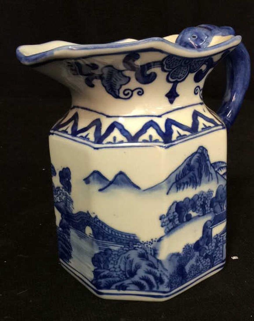 Blue and White Chinese Ceramic Pitcher - 4