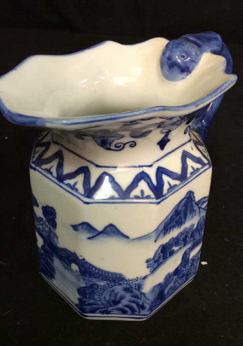 Blue and White Chinese Ceramic Pitcher - 5