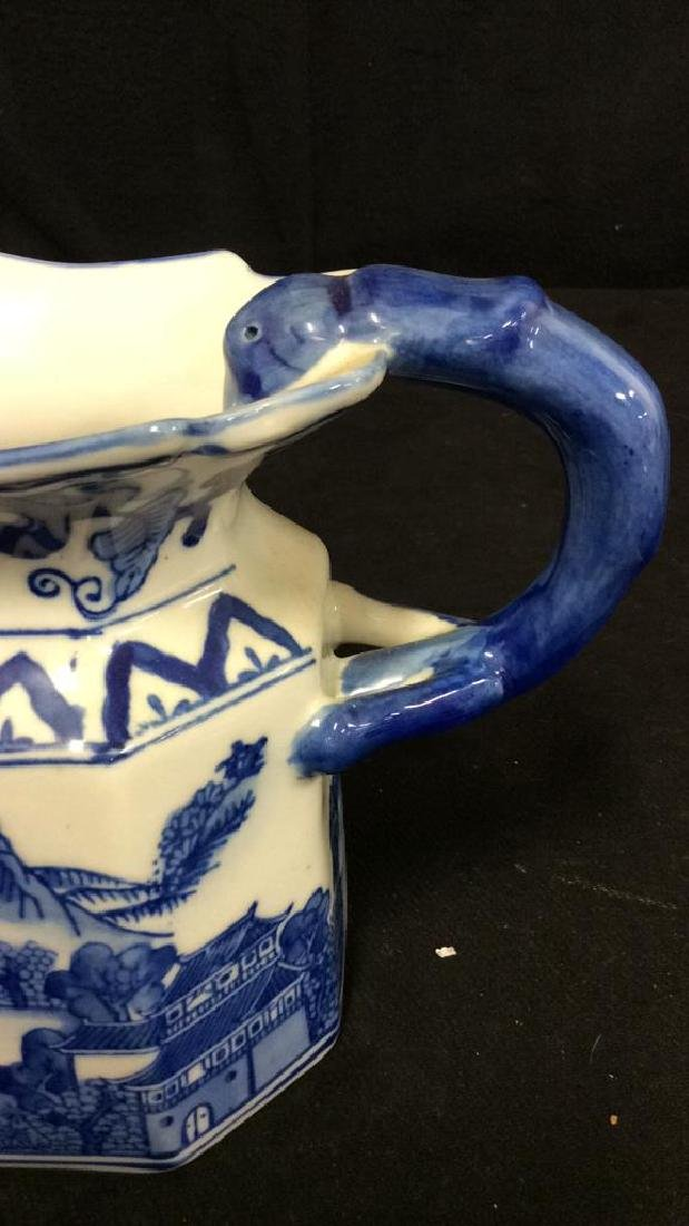 Blue and White Chinese Ceramic Pitcher - 6