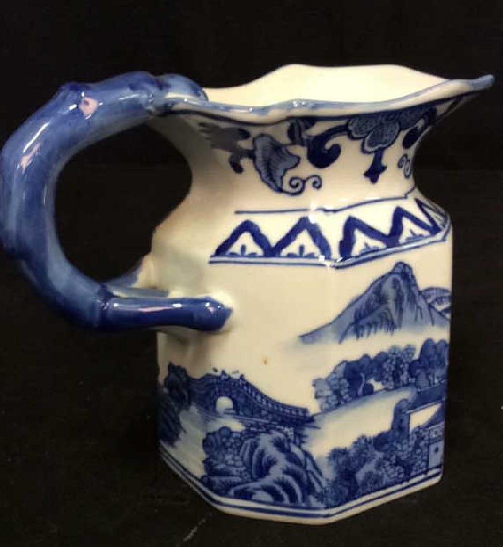 Blue and White Chinese Ceramic Pitcher - 8