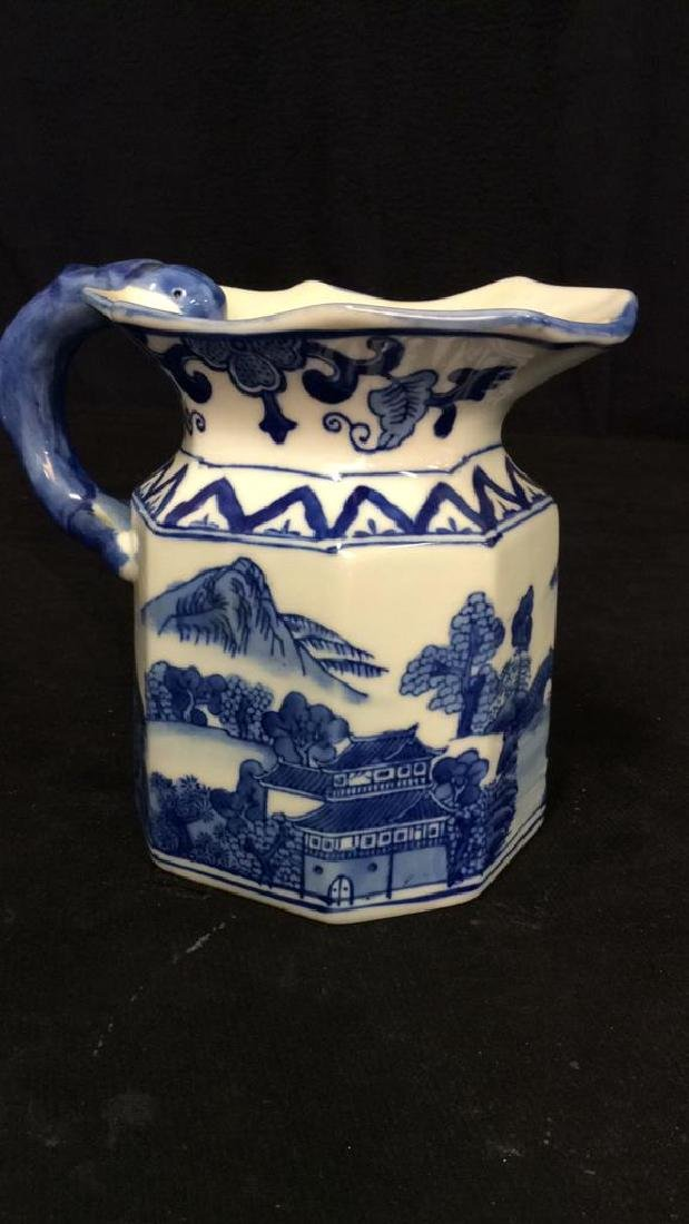 Blue and White Chinese Ceramic Pitcher - 9