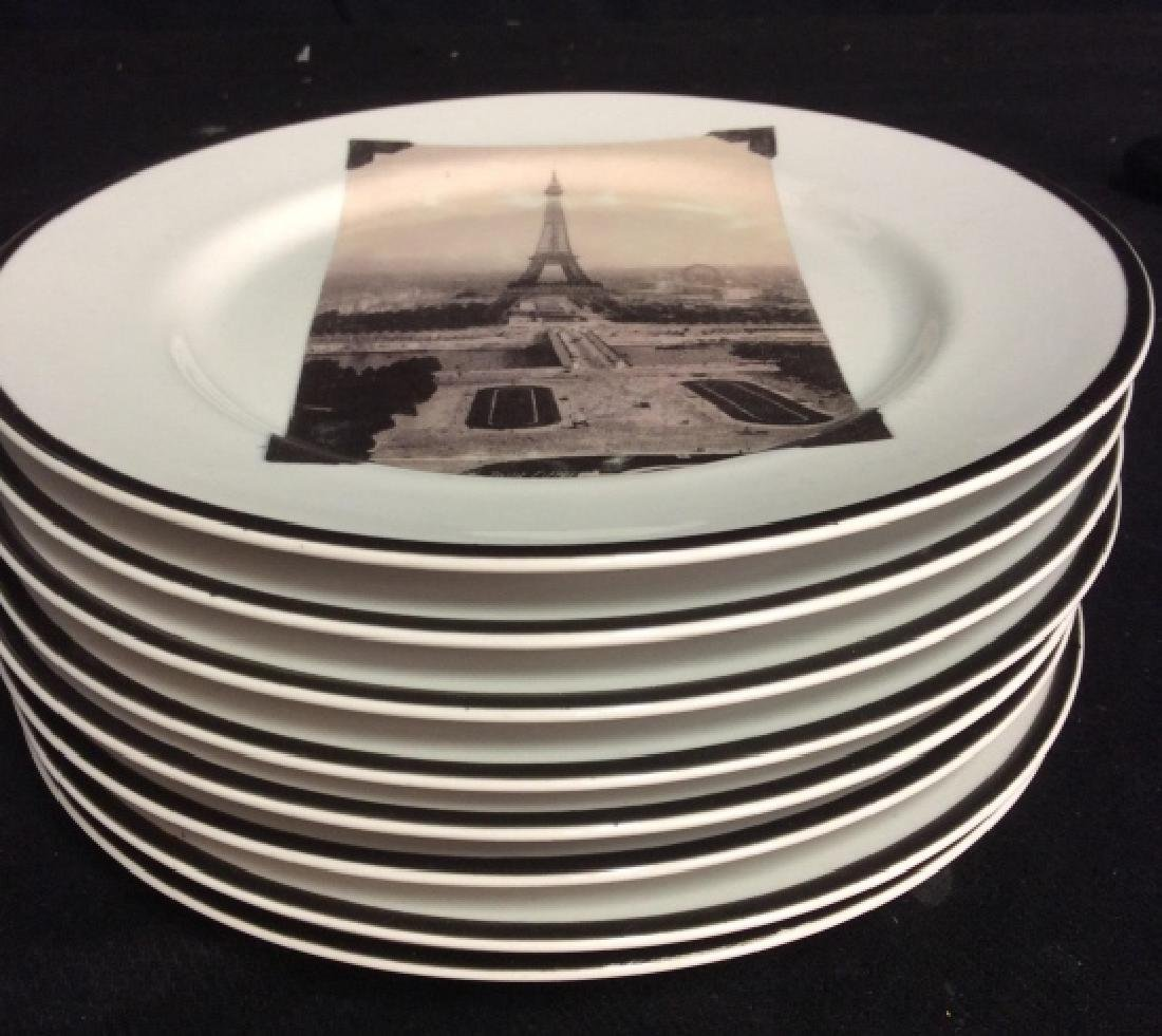 Set 8 ROSANNA Eiffel Tower Plates