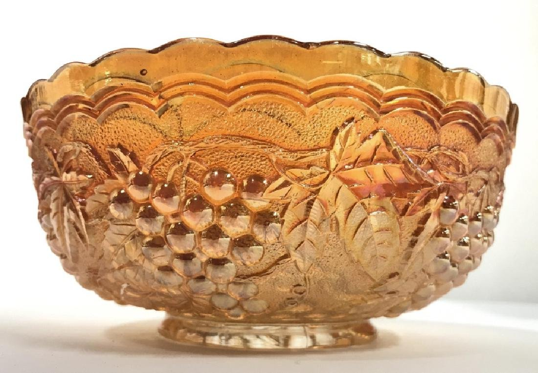 Orange Gold Pearlescent Carnival Glass Bowl