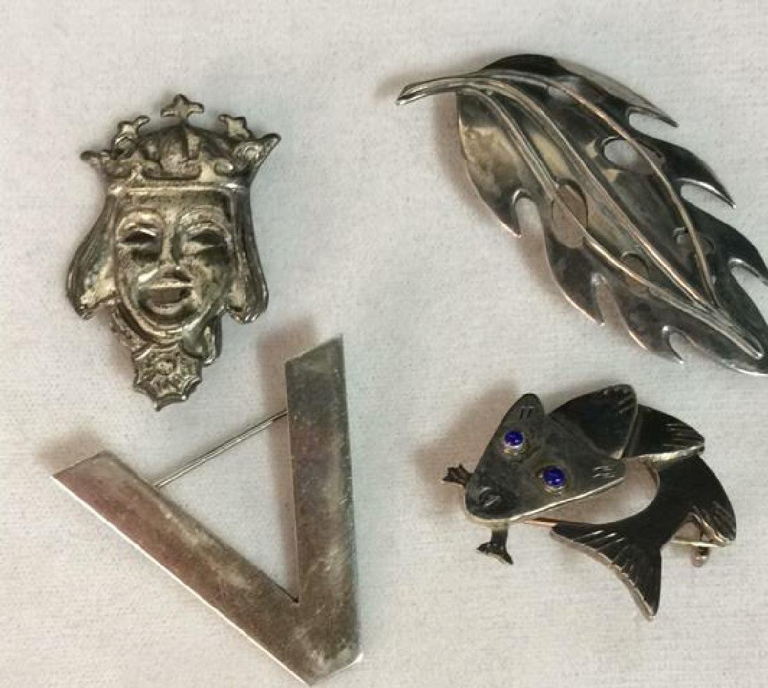 Lot 4 Sterling Silver Brooch Pins Estate Jewelry