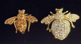 Pair JOAN RIVERS Rhinestone Studded Bee Pins