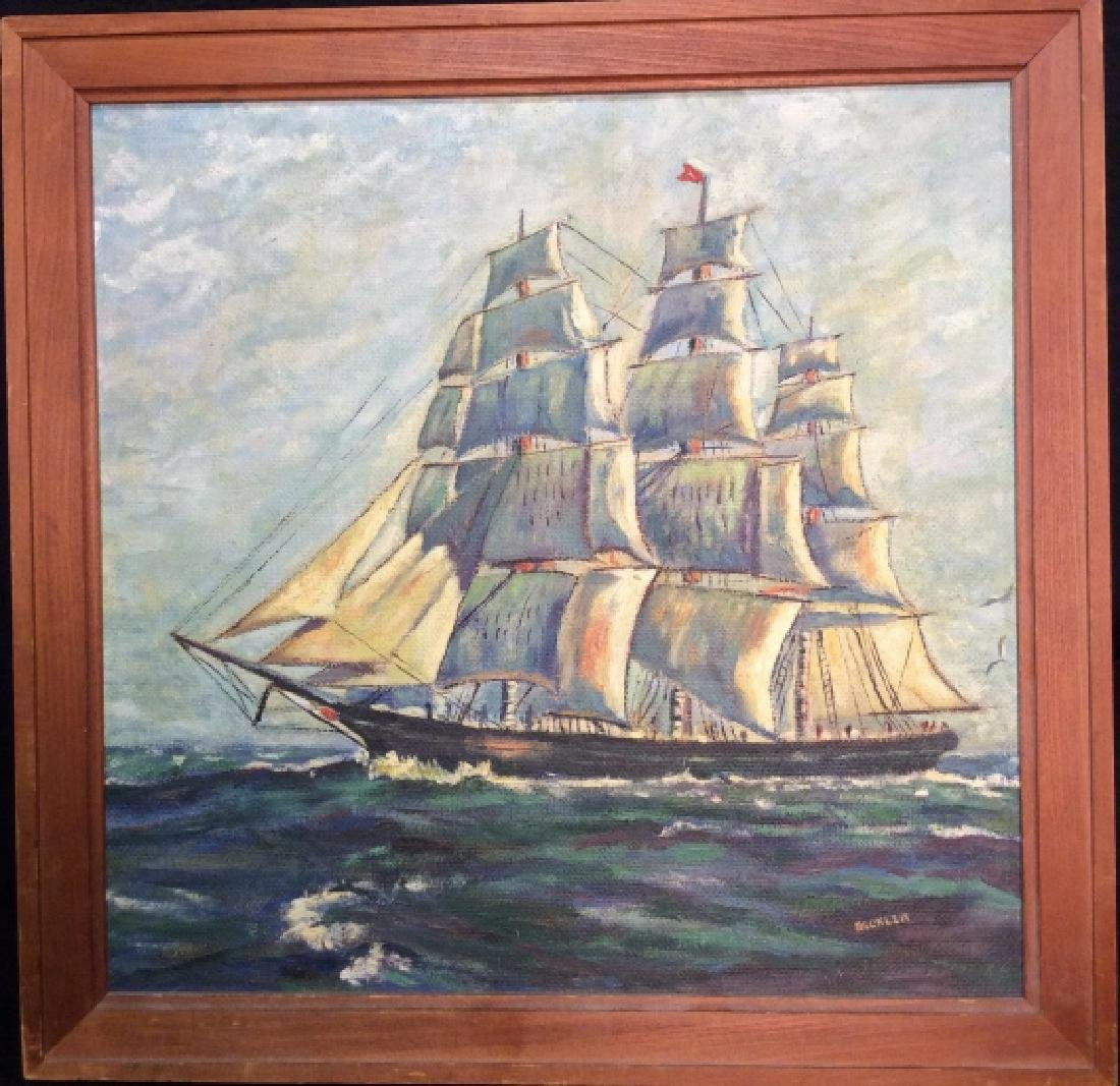 Signed Buckler Ship on the Sea Painting