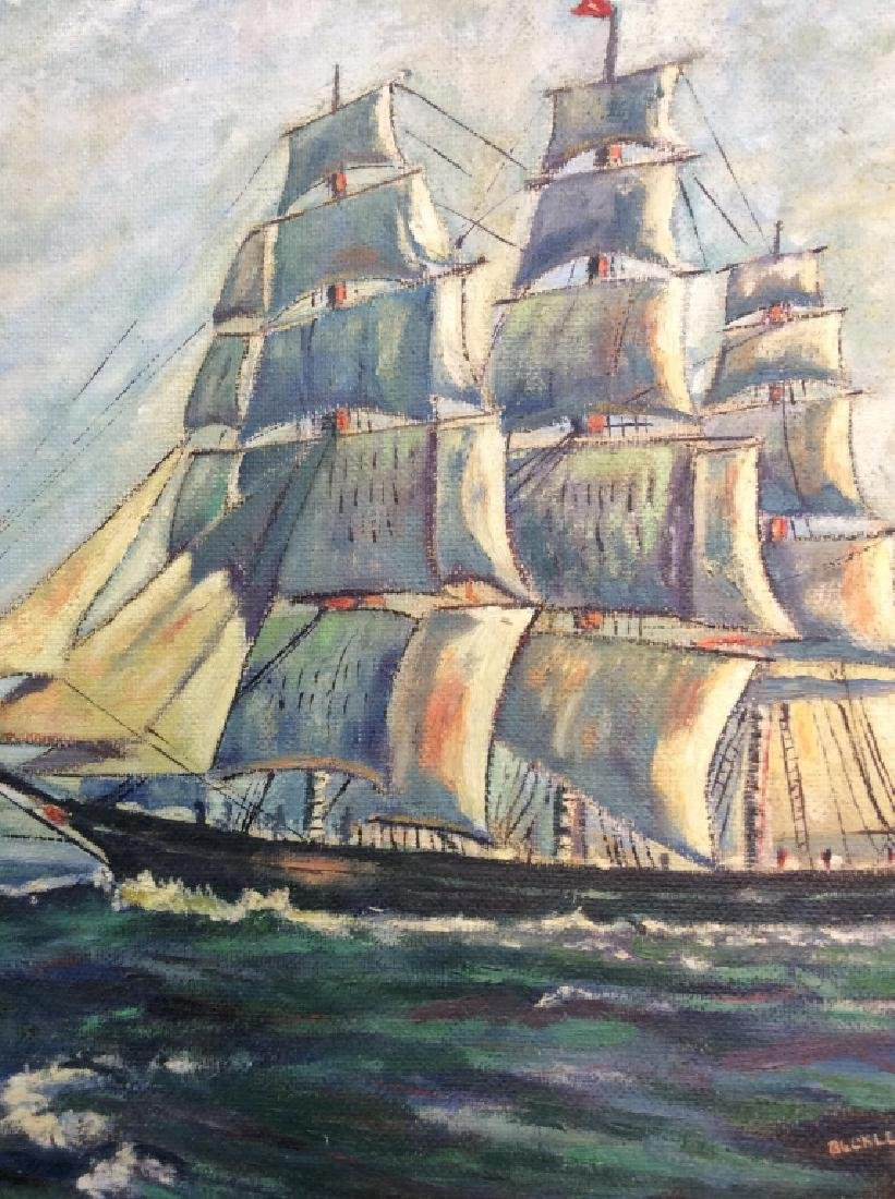 Signed Buckler Ship on the Sea Painting - 2