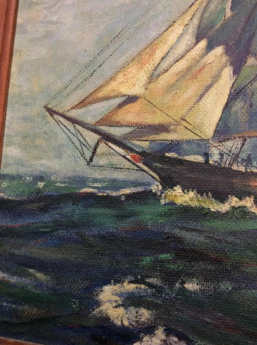 Signed Buckler Ship on the Sea Painting - 3