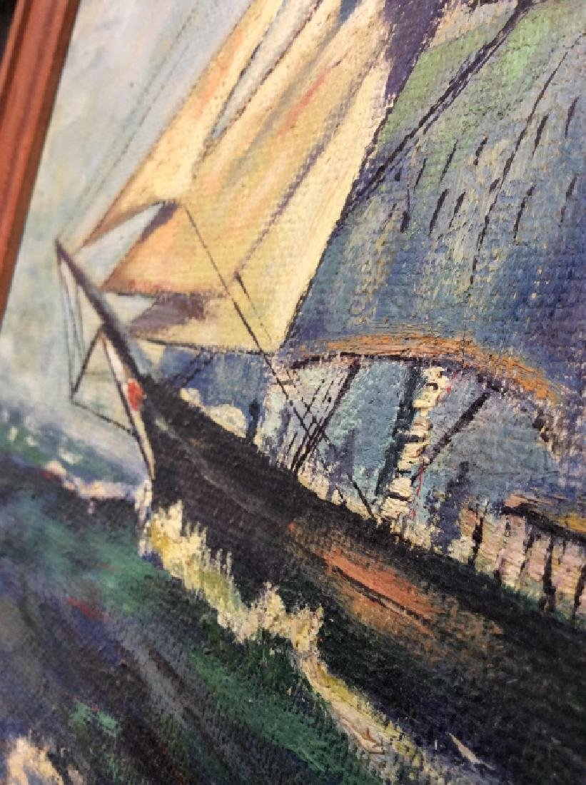 Signed Buckler Ship on the Sea Painting - 5