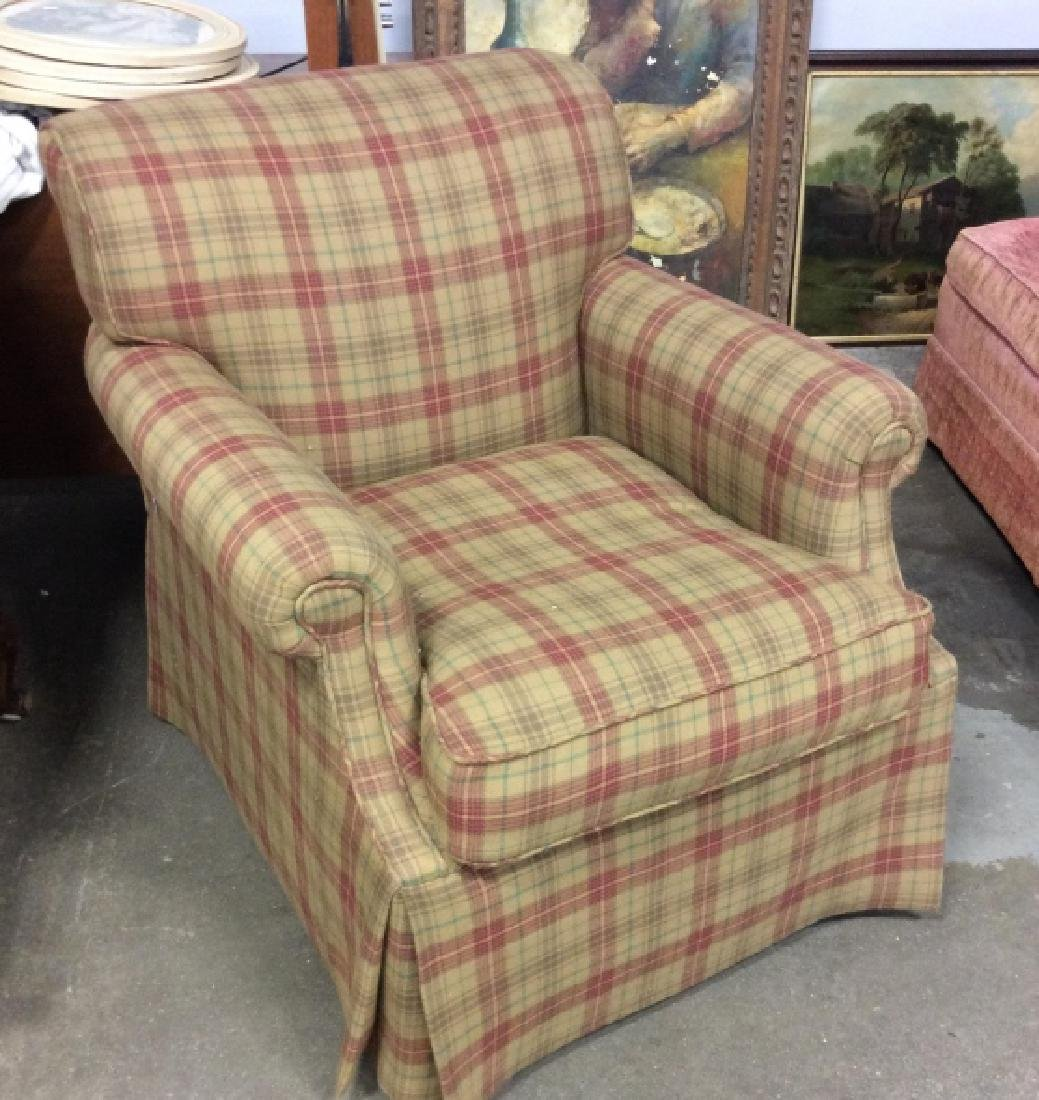 Pair Ralph Lauren Plaid Upholstered Arm Chairs - 10