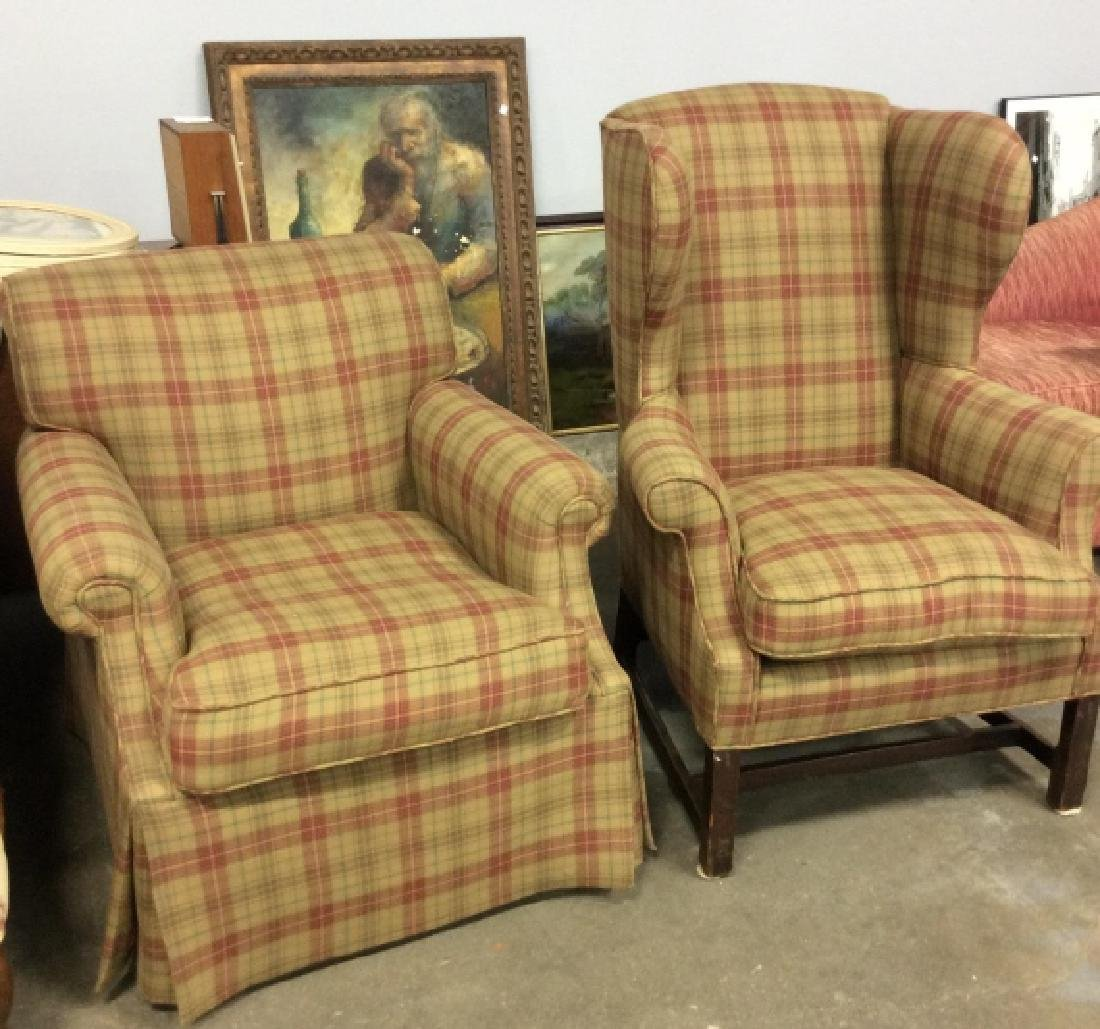 Pair Ralph Lauren Plaid Upholstered Arm Chairs