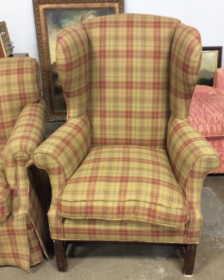 Pair Ralph Lauren Plaid Upholstered Arm Chairs - 2