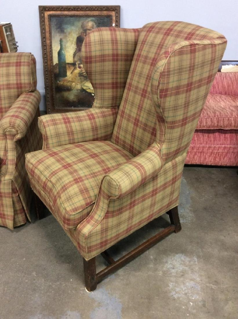 Pair Ralph Lauren Plaid Upholstered Arm Chairs - 3