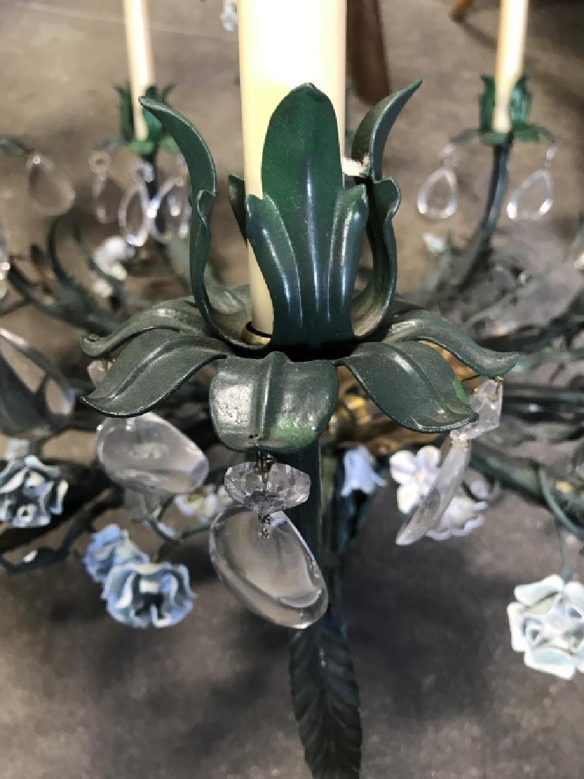 10 Arm Metal Floral & Leaf Crystal Chandelier - 3