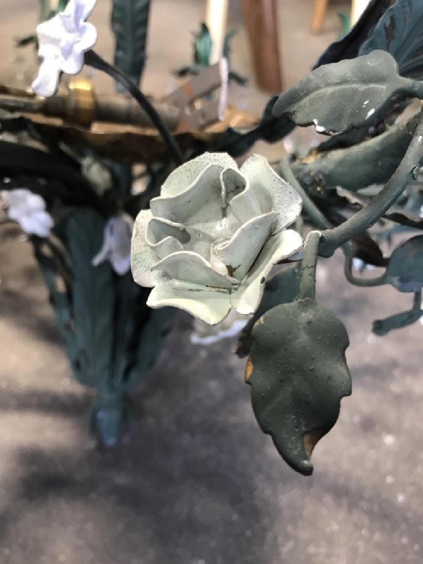 10 Arm Metal Floral & Leaf Crystal Chandelier - 5