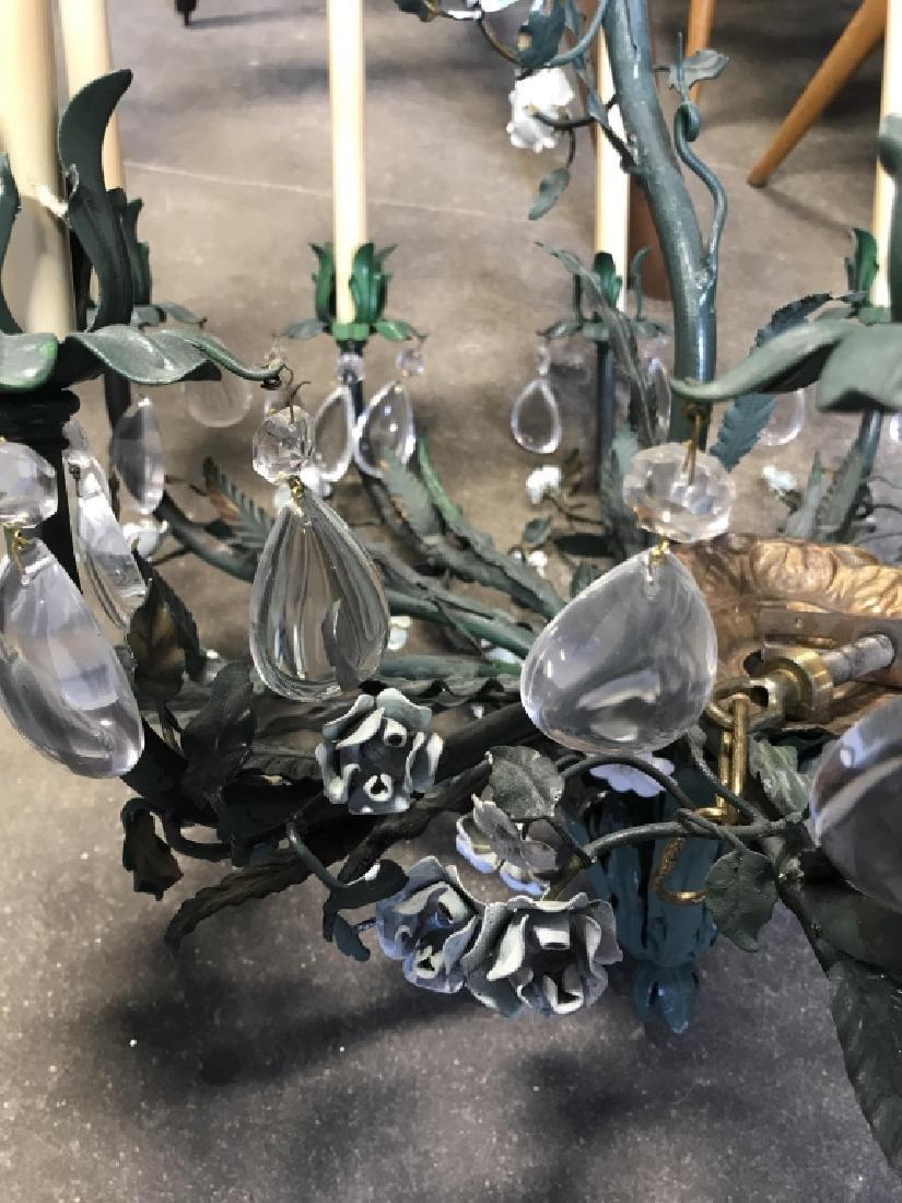 10 Arm Metal Floral & Leaf Crystal Chandelier - 6