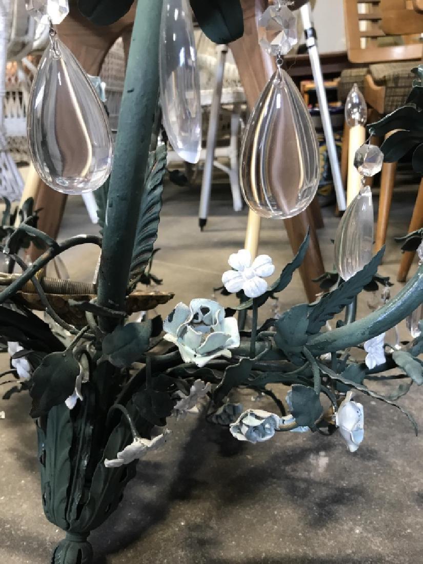 10 Arm Metal Floral & Leaf Crystal Chandelier - 8