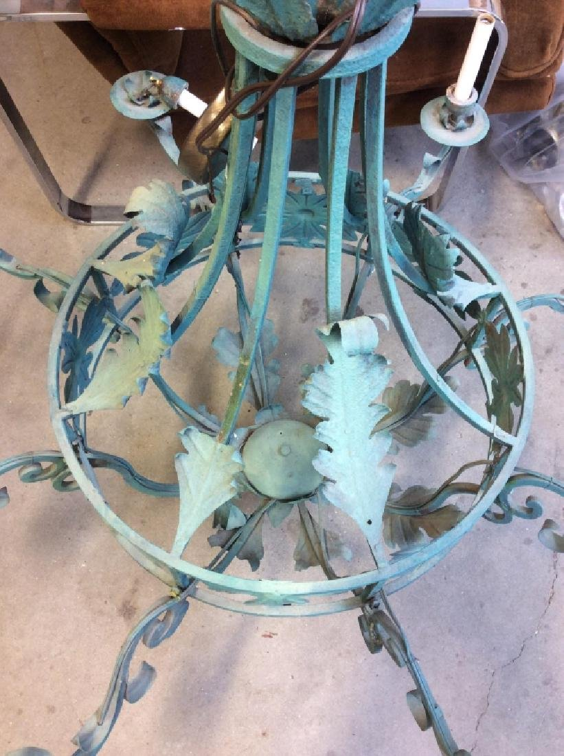 Metal Floral Green Toned Chandelier 8 Arms - 10