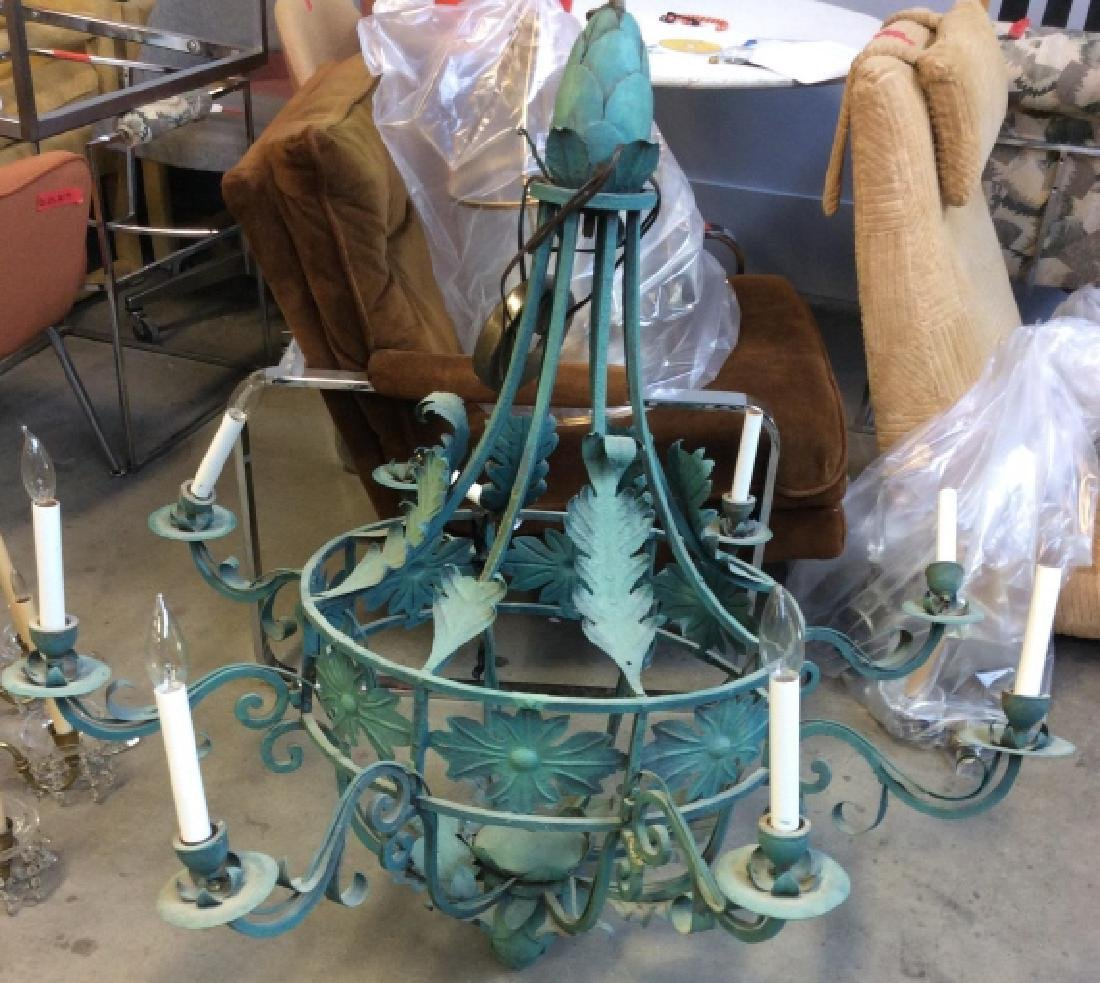 Metal Floral Green Toned Chandelier 8 Arms
