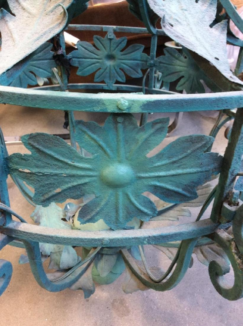 Metal Floral Green Toned Chandelier 8 Arms - 2