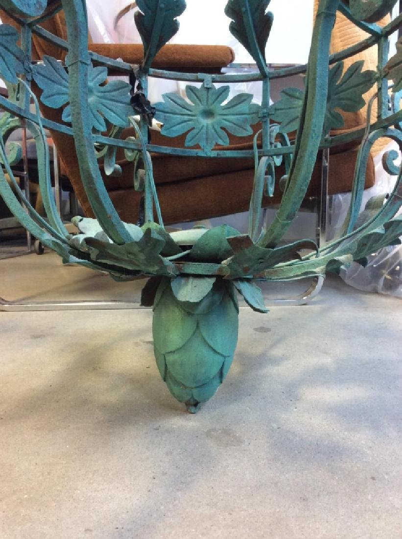 Metal Floral Green Toned Chandelier 8 Arms - 7