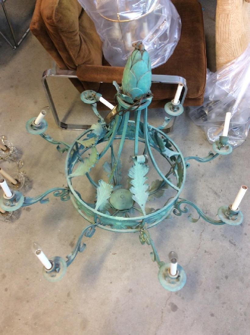 Metal Floral Green Toned Chandelier 8 Arms - 9