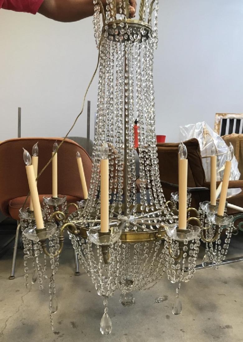 10 Arm Ornate Vintage Brass Crystal  Chandelier