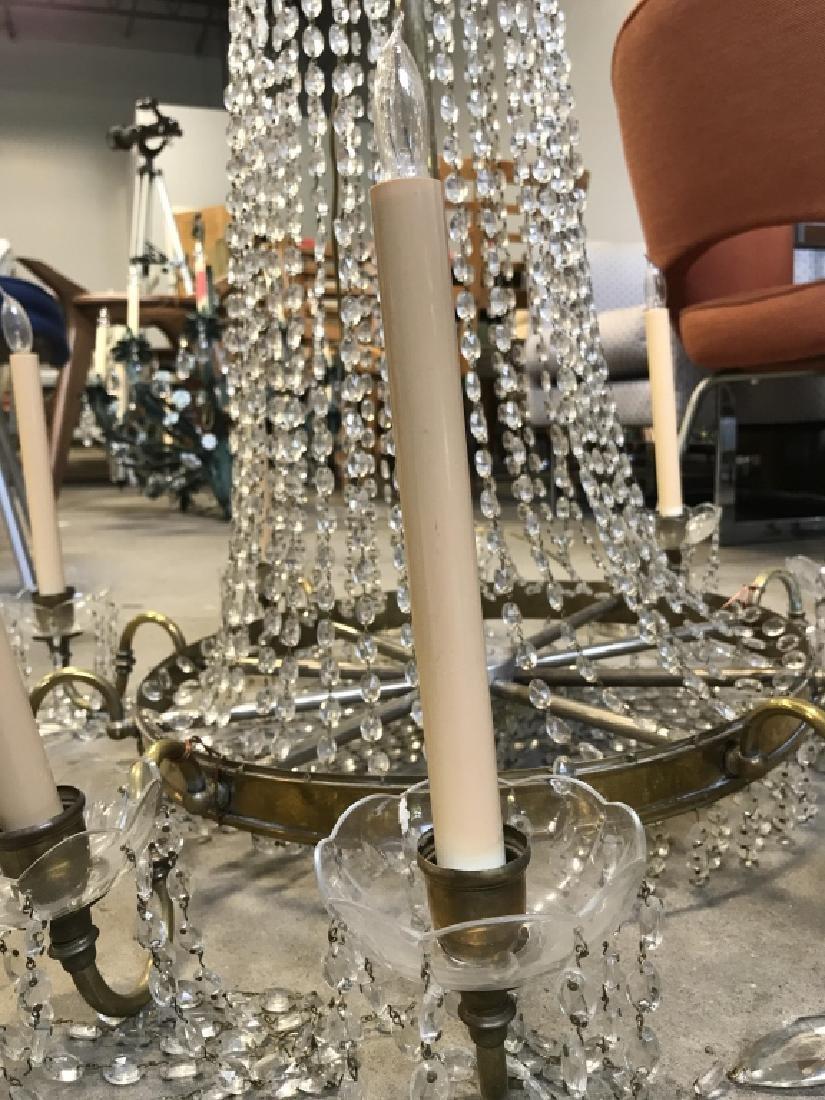 10 Arm Ornate Vintage Brass Crystal  Chandelier - 3
