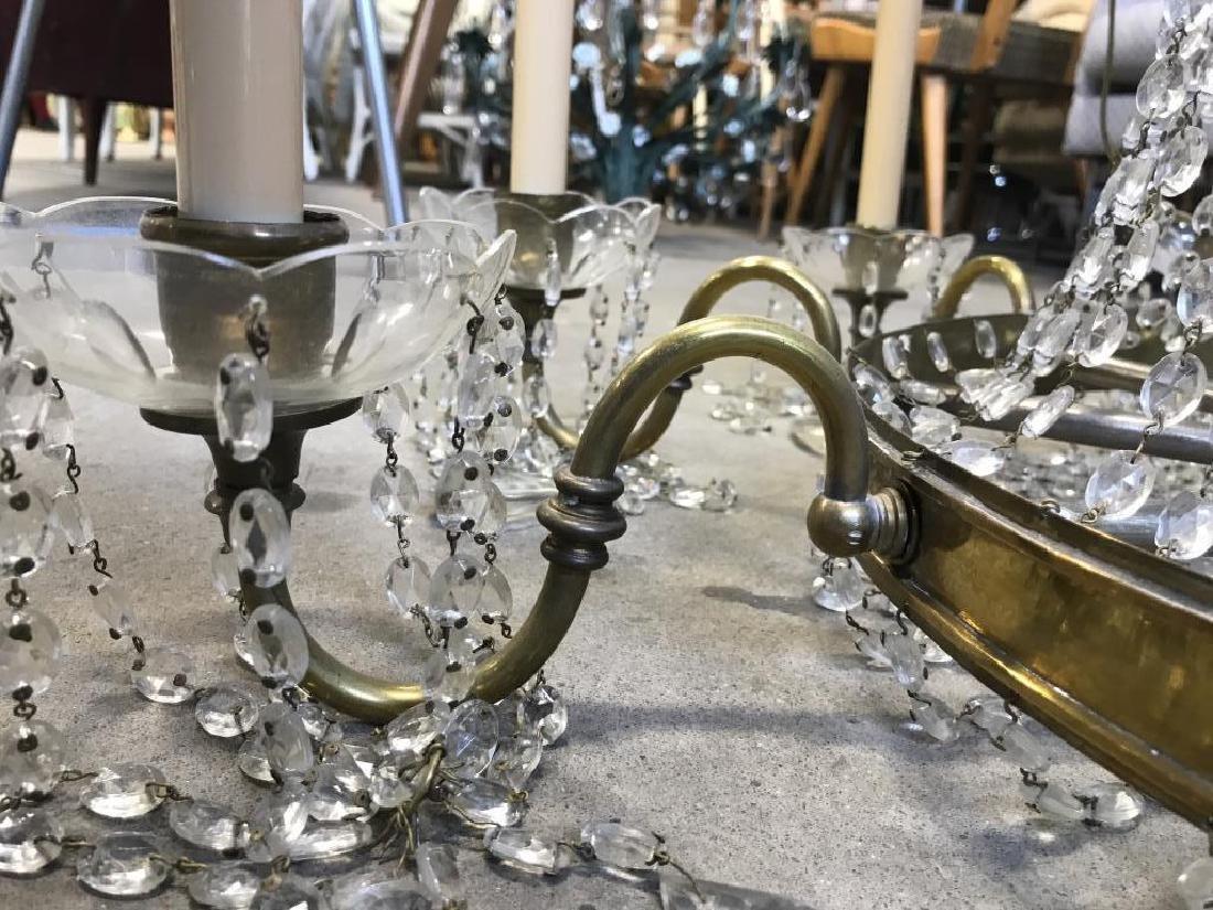 10 Arm Ornate Vintage Brass Crystal  Chandelier - 6