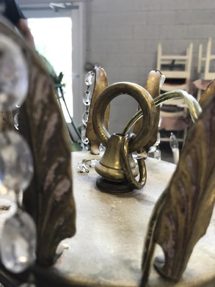 10 Arm Ornate Vintage Brass Crystal  Chandelier - 9