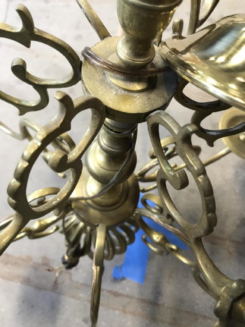 6 Arm Gold Toned Brass Chandelier - 10