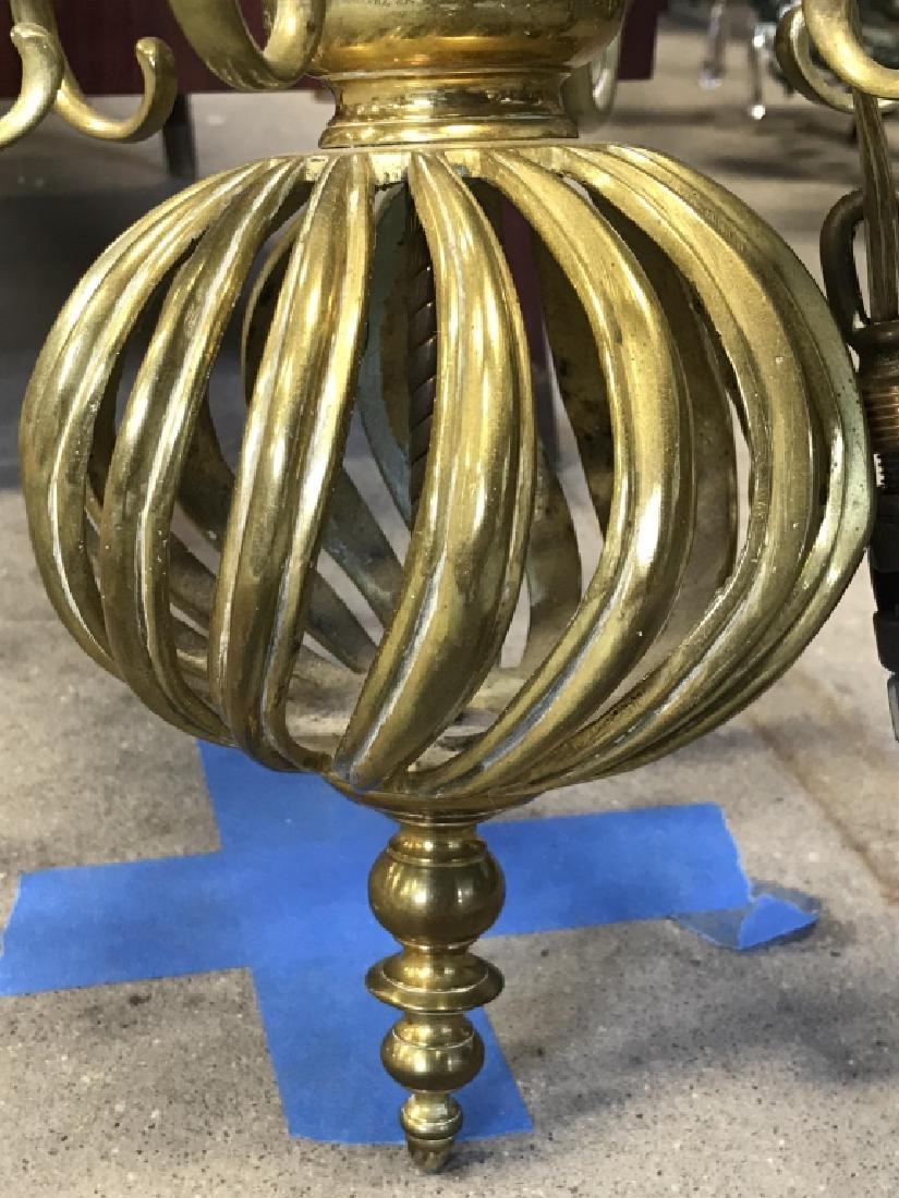 6 Arm Gold Toned Brass Chandelier - 3