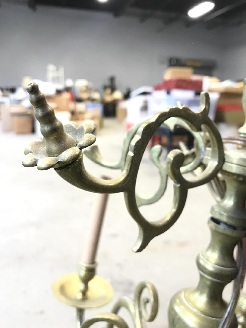 6 Arm Gold Toned Brass Chandelier - 4
