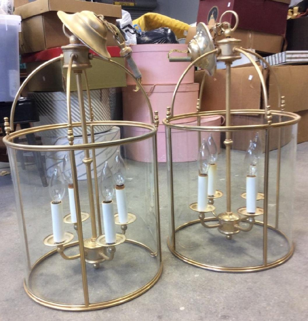 Pair  Pendant  Glass Metal Lantern Chandeliers