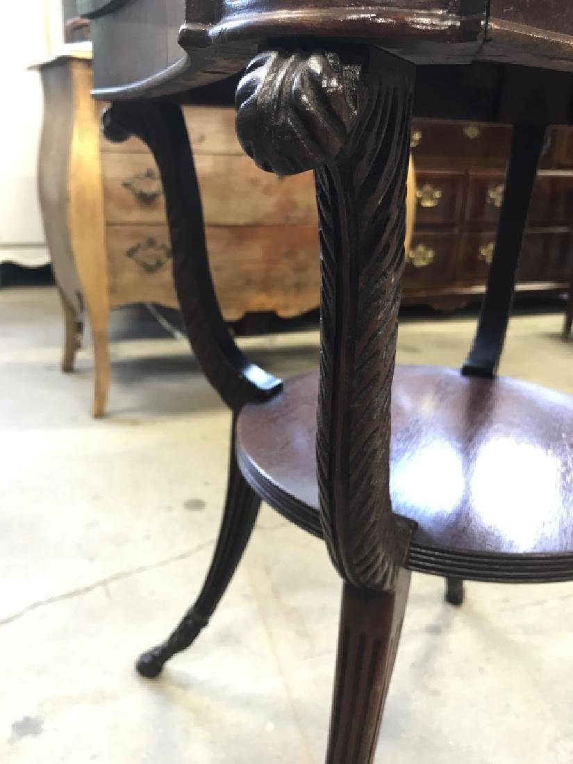 Intricately Carved Vintage Wooden End Table - 10