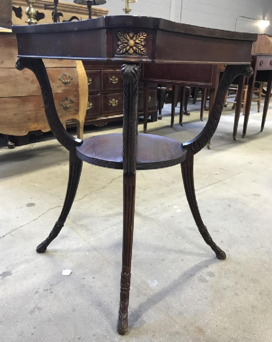 Intricately Carved Vintage Wooden End Table - 2