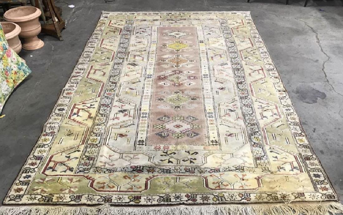 Handmade Geometric & Floral Detailed Wool Rug