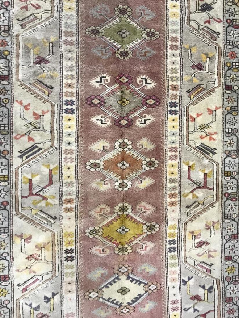 Handmade Geometric & Floral Detailed Wool Rug - 2