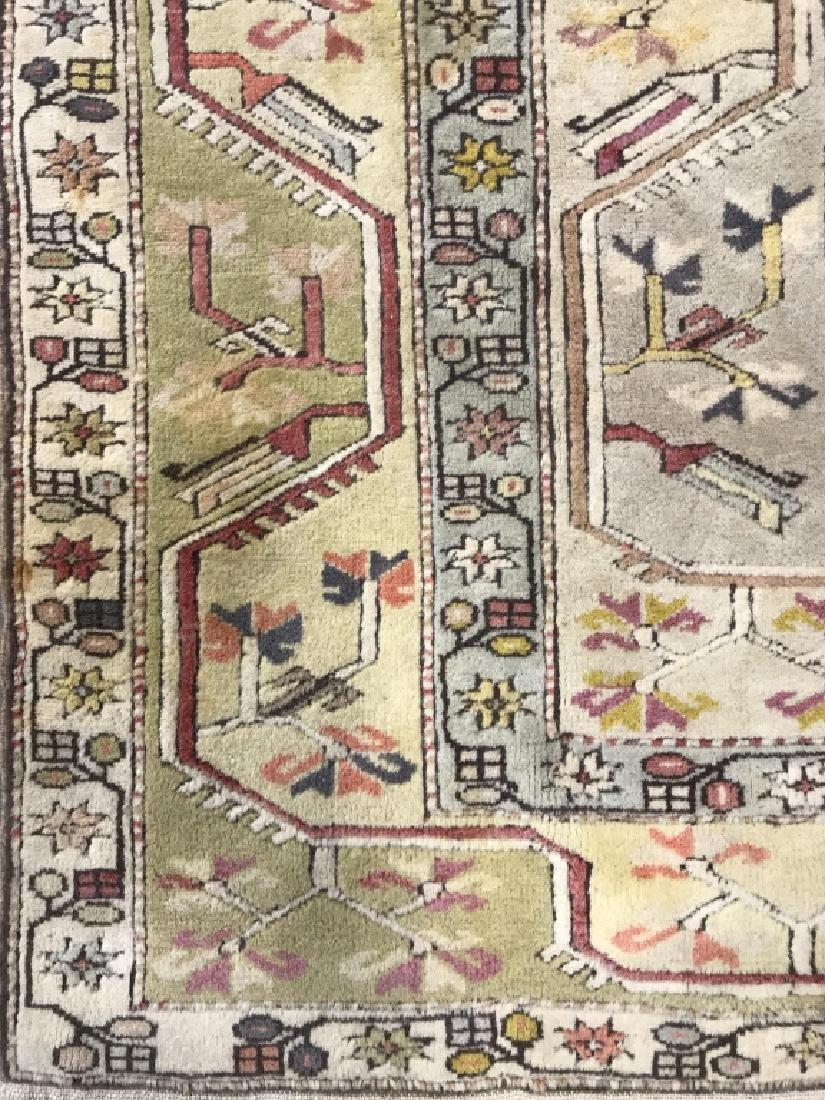 Handmade Geometric & Floral Detailed Wool Rug - 3
